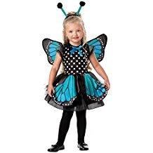 GRACES Girls Blue Sparkle Monarch Batterfly Princess Costume Dress For Halloween&Party (XS, Blue/Dot)