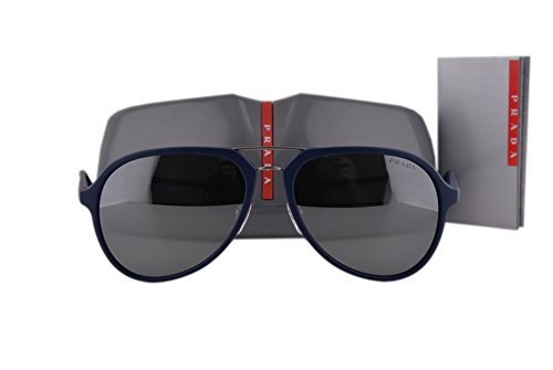 Prada PS05RS Sunglasses Blue Rubber w/Gray Mirror Silver Lens TFY7W1 SPS05R ()