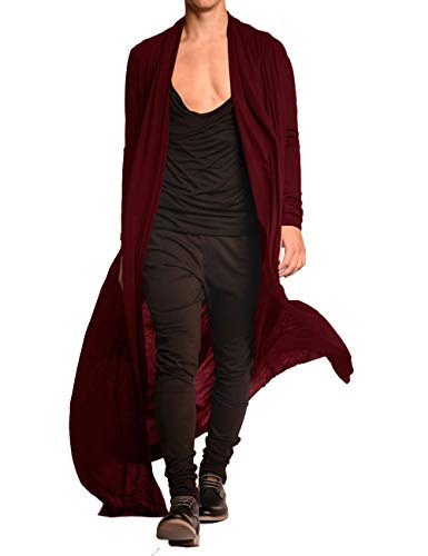 COOFANDY Men's Lightweight Ruffle Shawl Collar Cardigan Open Front Long Length Drape Cape Overcoat