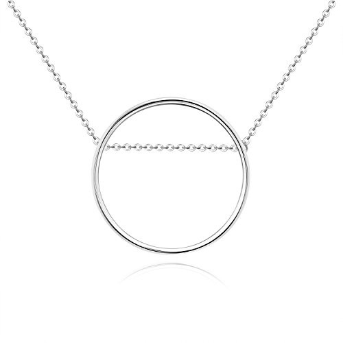 Circle Pendant Sterling Silver Jewelry (925 Sterling Silver Women Circle Pendant Necklace Jewelry Gift New Arrivals (White Gold))