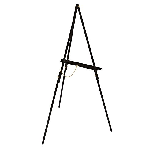 US Art Supply 64 inch High x 27-1/2 inch Wide Black Wooden Tripod Display Easel, Floor Easel, Artist Easel, Adjustable Tray Chain