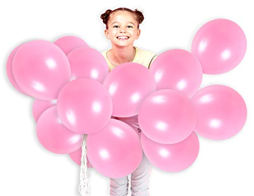 Treasures Gifted Hot Pink Balloons 12 Inch Solid Latex Balloon Pack of 36 and Curling Ribbon Party Kit for Birthday Baby Shower Wedding Supplies -