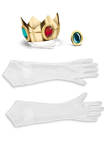 Mario Halloween Costume Women (Disguise Women's Nintendo Super Mario Bros.Princess Peach Adult Costume Accessory Kit, Gold/Red/Green/White, One)