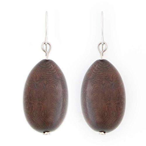 (Olives Tagua Earrings in Chocolate Brown, 100% vegetable ivory, tagua nut)