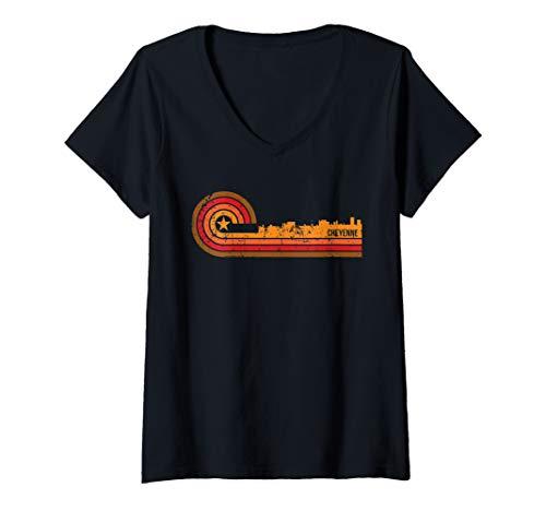 Womens Retro Cheyenne Cityscape - Cheyenne WY Skyline V-Neck T-Shirt