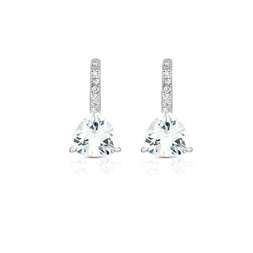 925 Solid Sterling Silver Trillion Cubic Zirconia Modern Design Post Earrings. (White) (Solid Trillion Earrings)