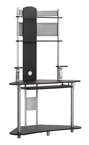 (Calico Designs Arch Tower Corner Computer Tower Multipurpose Home Office Computer Writing Desk - Silver / Black, 50510)