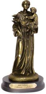 Florentine Collection - Saint Anthony Bronze Art Statue & Lourdes Prayer Card - Lourdes Florentine Statue
