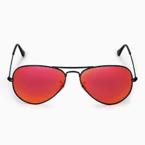 38981e9f8b New Walleva Polarized Fire Red+Ice Blue Replacement Lenses For Ray-Ban  Aviator Large Metal 55mm
