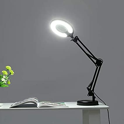 V-LIGHT Energy Saving 4.8W LED Magnifier Task Lamp with 3 Diopter Glass Lens and