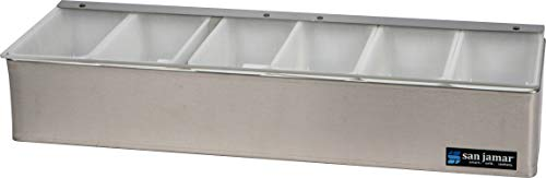 (San Jamar B4186L Stainless Steel Non-Chilled Garnish Tray with Plex Lid, 18