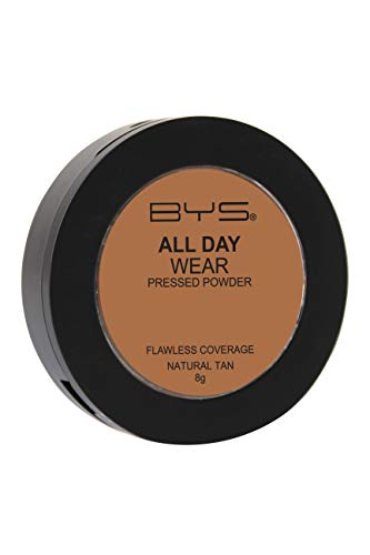 BYS All Day Wear Pressed Powder Natural Tan - flawless base lasts all day smooth blends seamlessly no cake or flake Argan Oil boost hydration antioxidant Vitamin E Hyaluronic Acid