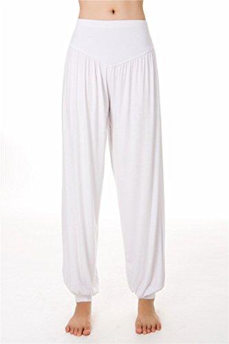 SIMYJOY Mujer Suave Modal Largo Pantalones/Leggings Spandex y Loose Fit para Yoga o Pilates blanco