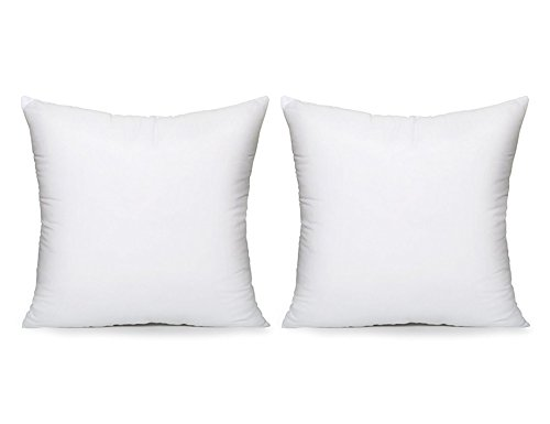 Acanva Basic Poly Pillow Insert Form Sham Cushion, Square, 16' L x 16' W, Set of 2