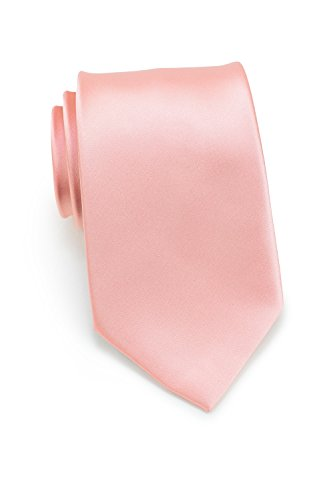 Bows-N-Ties Men's Necktie Solid Color Microfiber Satin Tie 3.25 Inches - Satin Pink Candy