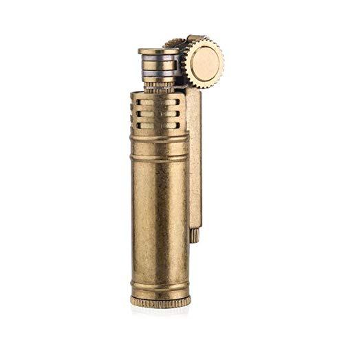 Kerosene Oil Lighter,Solid Brass Antique Style Flint Wheel Oil Petrol Metal Cigarette Lighter,#1