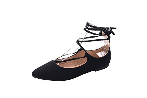 Glamour Ballet Flats - Mila Lady Womens Faux Suede Pointed Toe Ankle Strap Lace Up Flats Shoes, IRMA BLACK7.5