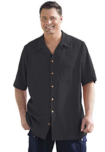 KingSize Men's Big & Tall Gauze Cotton Camp Shirt, Black Big-3Xl ()
