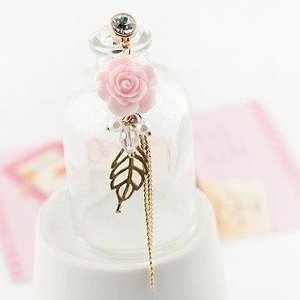 (Earphone Jack Accessory Plated Gold Pink Flower Golden Leaves Tassel Chain Beads Crystal Pearls / Cell Charms / Dust Plug / Ear Jack For Iphone 4 4S / iPad / iPod Touch / Other 3.5mm Ear Jack)