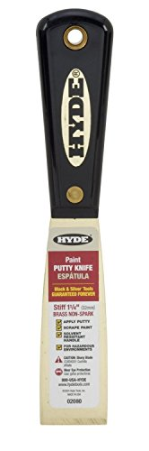 Hyde Tools 02080 4 pack 1.25-Inch Stiff Chisel Edge Putty Knife, Brass by Hyde Tools