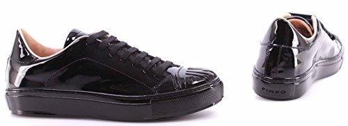 Scarpe Donna Sneakers PINKO Shine Baby Shine Biancospino Vernice Nera Pelle New