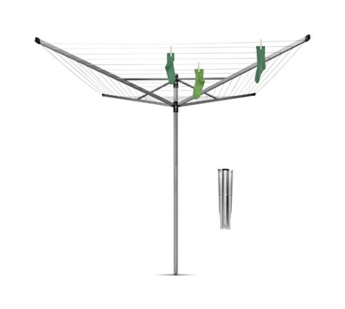 Brabantia Lift-o-Matic Large Rotary Airer Clothesline with Metal Soil Spear, 197 Feet, Silver