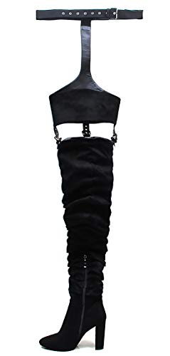 Size 14 Thigh High Boots (OLCHEE Women's Fashion Thigh High Boots - Over The Knee Pointed Toe Sexy High Heeled Boots with Belt - Block Heels Black Size)