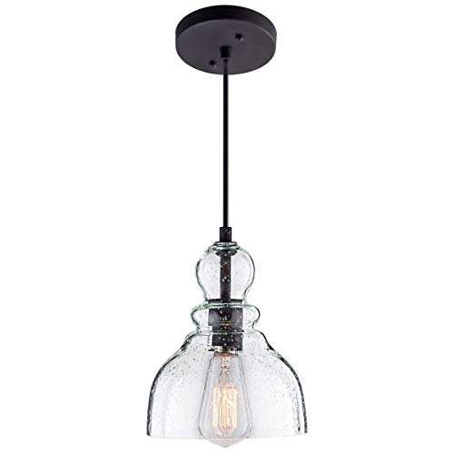 (LAMPUNDIT Industrial Glass Seeded Mini Pendant Lighting,Adjustable 1-Light Ceiling Light Fixture with Oil-Rubbed Bronze Finish Farmhouse Hanging Lamp)