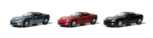 - Set of 3 Cars: GreenLight 2010 Chevy Corvette Z06 1:64 Scale (Black/Blue/Red)