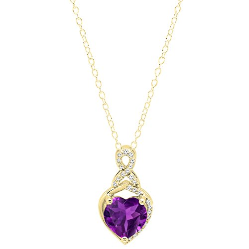 10K Yellow Gold 8 MM Heart Shaped Amethyst & Round White Diamond Ladies Heart Pendant
