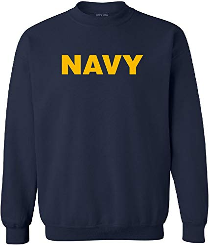 Joe's USA - Navy Logo Crewneck Sweatshirt, Size L