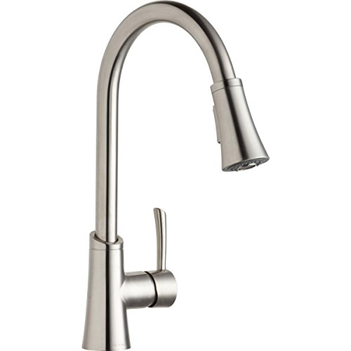 Elkay LKGT3031LS Single Hole Kitchen Faucet with Pull-down Spray and Forward Only Lever Handle, Lustrous Steel