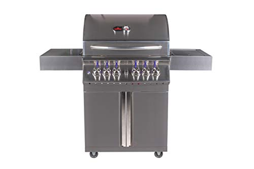 Bonfire 800 Series 28-inch-4 burners propane gas grill on cart with cast iron side burner, and infrared back burner(800 series)