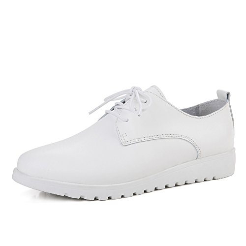 Lucksender Womens Season New Casual Lace Up Flat Pumps Shoes White HNJMMz