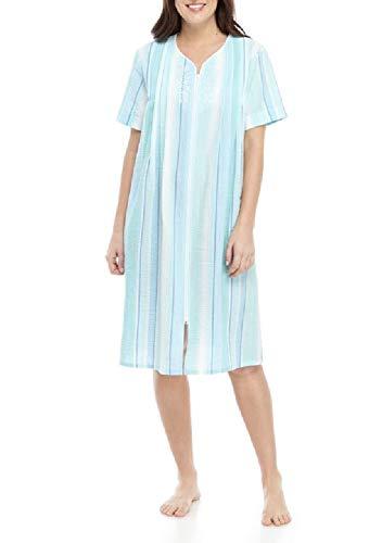 (Miss Elaine Women's Short Front-Zip Striped Seersucker Sleep Gown (Large, Blue Stripe))