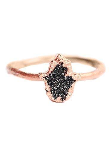 - Size 7 Boho Chic Dainty Hamsa Druzy Electroformed Copper Stack Ring