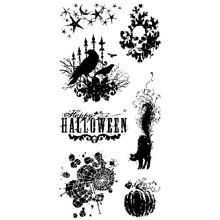 Inkadinkado Clear Seasonal Halloween Stamps 4-Inch by 8-Inch Sheet, Scary Night -