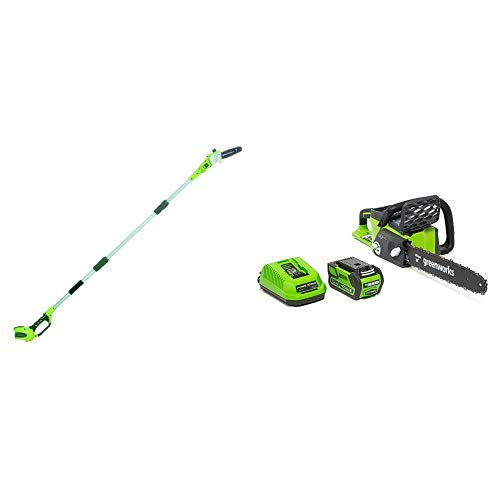 Greenworks 8' 40V Cordless Pole Saw, Battery Not Included 20302 with  16-Inch 40V Cordless Chainsaw, 4.0 AH Battery Included 20312