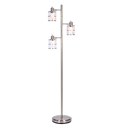 "Catalina Lighting 20442-000 Contemporary 3 Ribbed Glass Floor Lamp with Adjustable Heads & Reading Light, 68"", Brushed Nickel Discontinued"