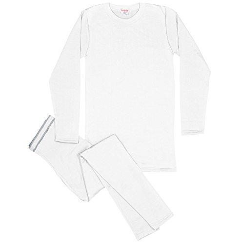 Rocky Men's Thermal Fleece Lined Long John Underwear 2pc Set (Large, White) - Thermal Shirt Long Johns