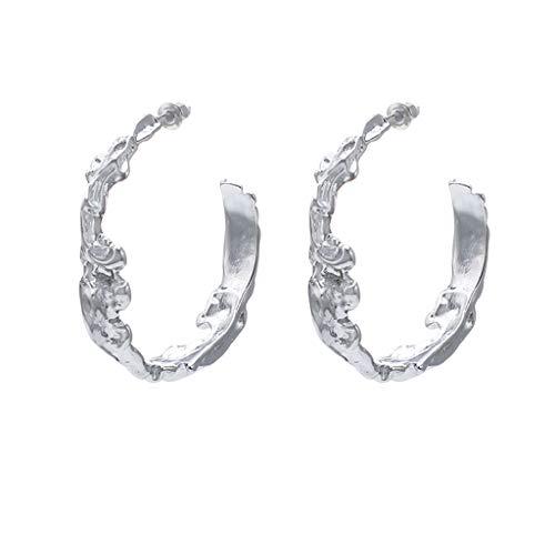 - Goddesslili Hoop Earrings for Women Girlfriend Girls Ladies Fashion Irregular C-Type Semi-Circular Geometric Alloy Jewelry Vintage Retro Wedding Engagement Anniversary Luxury Gift Under 5 Dollars