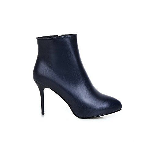 Ladies Imitated Stiletto Boots Darkblue Mule BalaMasa Leather Zipper RxTqRd