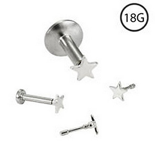 YD Jewelry - 14KT Solid White Gold Titanium Labret Style Nose Stud Ring Monroe 3mm Star 18G