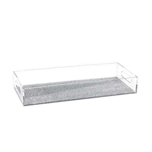 """Waterdale Acrylic/Lucite Bread, Serving, Multi Purpose Tray 6"""" By 14"""" (Silver Glitter)"""