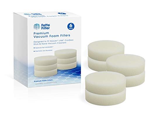 Fette Filter - Vacuum Foam Filter Compatible with Hoover Linx Cordless Stick and Hand Vacuums. Compare to Part # 410044001. (6-Pack)