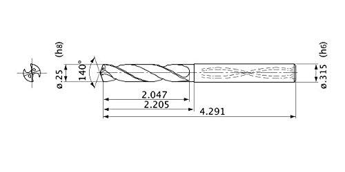 Mitsubishi Materials MVS0635X05S080 Series MVS Solid Carbide Drill 1.2 mm Point Length 8 mm Shank Dia. 6.350 mm Cutting Dia 5 Hole Depth Internal Coolant