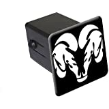 "Ram Head White On Black - 2"" Tow Trailer Hitch Cover Plug Insert"