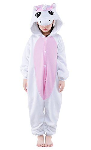 Newcosplay Children Unisex Pajamas Kids Animal Costume Cosplay Sleeping Wear (115, Pink Unicorn)