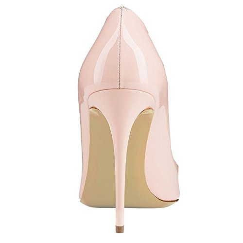 Platform Shoes Slip Pumps High On Stiletto Ladies AIWEIYi Round Toe apricot Womens Heels Dress wx7R8ZH8q
