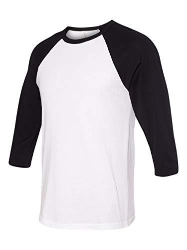 - Canvas C3200 Unisex 3 By 4-Sleeve Baseball Tee - White & Black, Extra Large